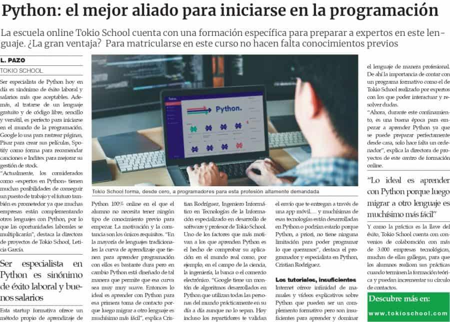 phyton articulo en la Voz de Galicia